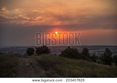 Beautiful view of a decline, evening landscape, sunset