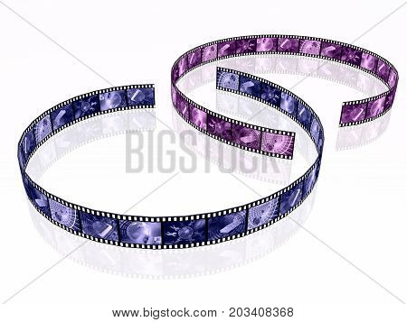 Film rolls with toned pictures (communication) 3D illustration.