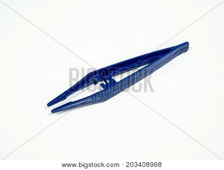 Blue Plastic Tweezer Isolated On White