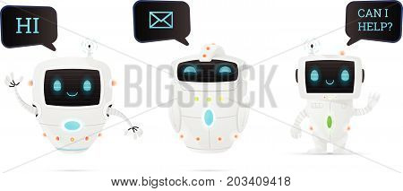 Vector illustration cartoon robot characters set. Friendly chatbot mail robot and helper.