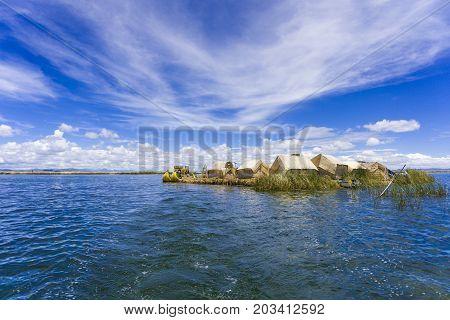 The Totora boat on the Titicaca lake near Puno, Peru