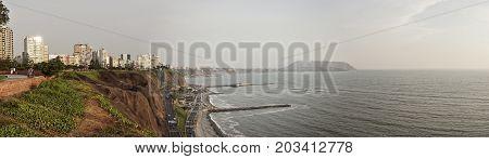 A Pano shot of Lima city beach in summer season