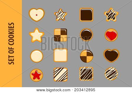 Set of cookies in flat style. 16 vector objects on a gray background. Icons for Web and Mobile Application. Tasty cookies for execution of business cards of cooks. Vector illustration. EPS 10.