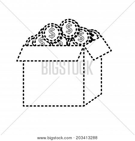 dotted shape open box with coins cash money inside vector illustration