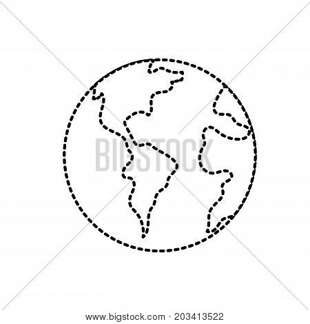 dotted shape global earth planet to geography ubication vector illustration