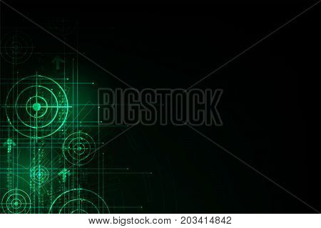 Vector abstract background technology concept on a dark green background.
