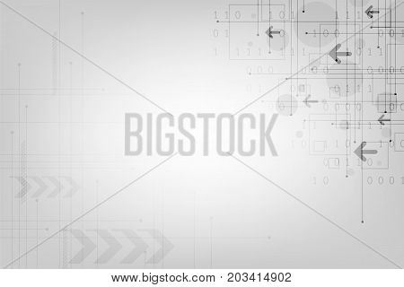 Vector network technology of communication on a gray background.