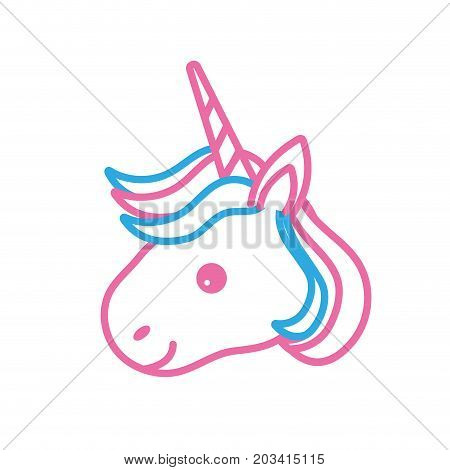 line cute unicorn head with horn and hairstyle vector illustration
