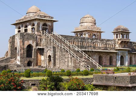 Jahaz Mahal Ship Palace in sunrise. Mandu Madhya Pradesh India