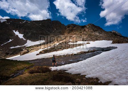 Backpacker On Mt Toll Trail Below Blue Lake Colorado