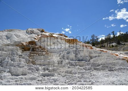 Travertine Terraces  in Mammoth Hot Springs, North Yellowstone national park in wyoming