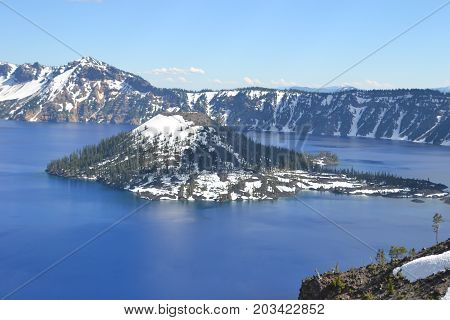 Unriveled in its beauty Crater Lake national park, Oregon is located in the cascade mountains
