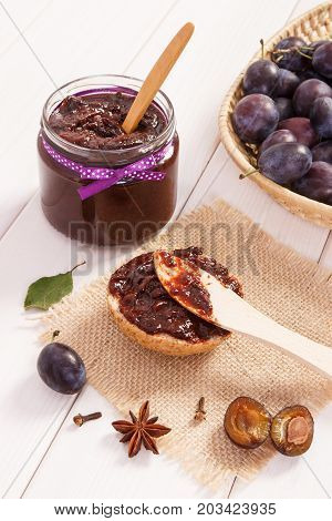 Wooden Knife And Fresh Prepared Sandwiches With Plum Marmalade Or Jam, Breakfast Concept
