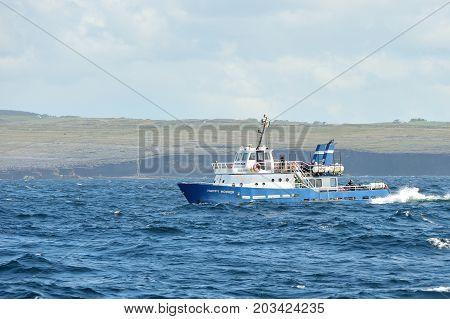 Aran Island, North Atlantic Ocean, County Clare, Ireland June 2017, Small Ferry Sailing From Aillepr