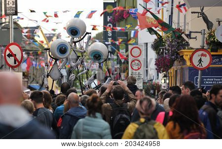 Shop Street, Galway, Ireland July , Art Festival 2017, I-puppets , 3 Puppets Standing In The Middle