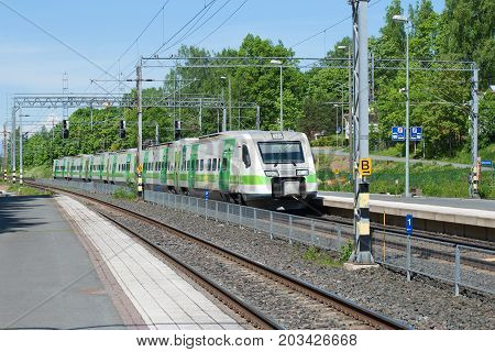 HAMENENLINA, FINLAND - JUNE 10, 2017: High-speed electric train Sm3