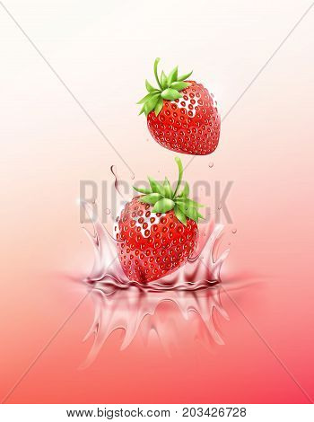 Strawberry drop on juice splash and ripple, Realistic Fruit and yogurt, transparent, vector illustration