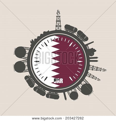 Circle with energy relative silhouettes. Design set of natural gas industry. Objects located around the manometer circle. Flag of the Qatar