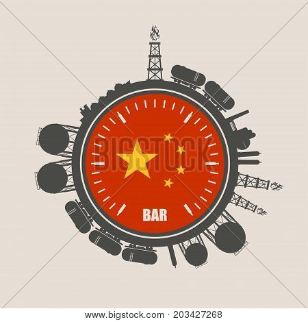 Circle with energy relative silhouettes. Design set of natural gas industry. Objects located around the manometer circle. Flag of the China