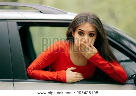 Car Sick Woman Having Motion Sickness Symptoms