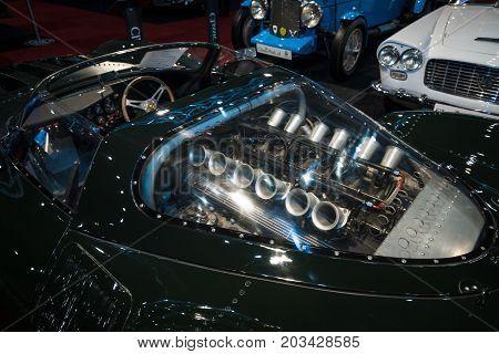 MAASTRICHT NETHERLANDS - JANUARY 08 2015: Engine 5.0 L DOHC V12 of the race car Jaguar XJ13 by Proteus (replica). International Exhibition InterClassics & Topmobiel 2015