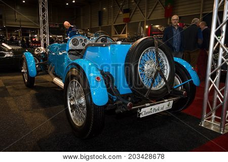 MAASTRICHT NETHERLANDS - JANUARY 08 2015: Oldtimer Alvis 35 litre MC Special. Rear view. International Exhibition InterClassics & Topmobiel 2015