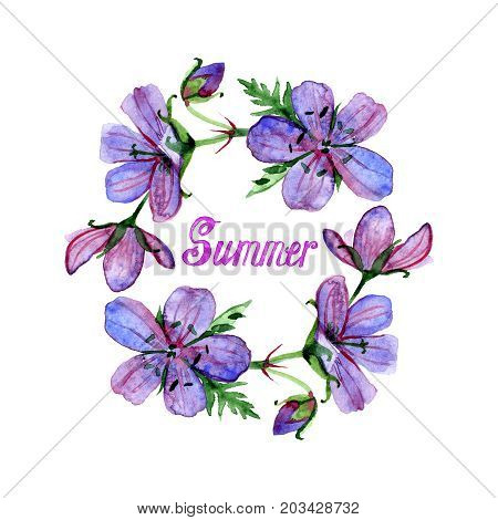 Watercolor illustration of flowers frame and summer lettering. Violet forest geranium. Colorful floral heart, drawing watercolor. Design for invitation and greeting cards