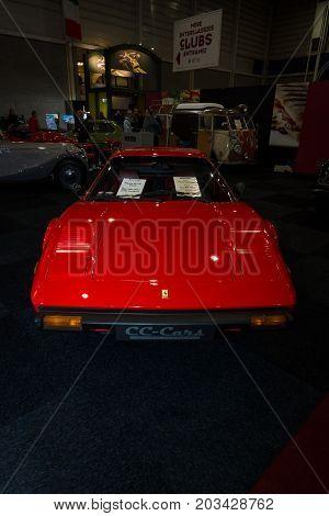 MAASTRICHT NETHERLANDS - JANUARY 08 2015: The sports car Ferrari 308 GTB. International Exhibition InterClassics & Topmobiel 2015
