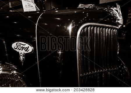 MAASTRICHT NETHERLANDS - JANUARY 08 2015: Detail of a car Ford V8 Delivery (Model 48). Toning. Stylization. International Exhibition InterClassics & Topmobiel 2015