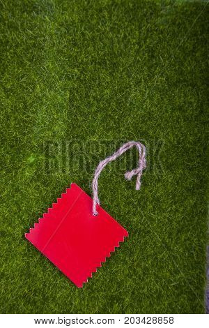 Red Tag On A Green Grass