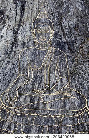 Golden Big Buddha on the mountain Khao Chi Chan Pattaya Thailand