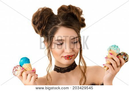 smiling brunette woman with colorful makeup on lips with ice cream