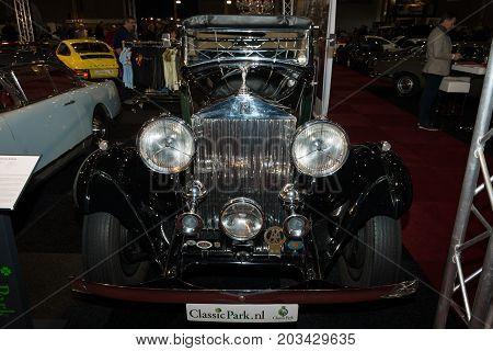 MAASTRICHT NETHERLANDS - JANUARY 08 2015: Luxury car Rolls-Royce 20/25 Sedanca de Ville by Gurney Nutting. International Exhibition InterClassics & Topmobiel 2015