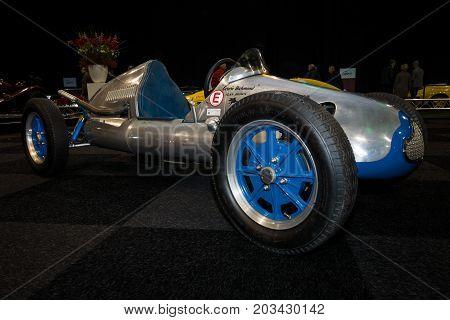 MAASTRICHT NETHERLANDS - JANUARY 08 2015: Racing car Cooper Mk V 1951. International Exhibition InterClassics & Topmobiel 2015