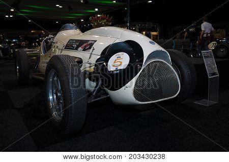 MAASTRICHT NETHERLANDS - JANUARY 08 2015: The Formula One racing car Cooper T23 (Cooper-Bristol Mk. II) 1953. International Exhibition InterClassics & Topmobiel 2015