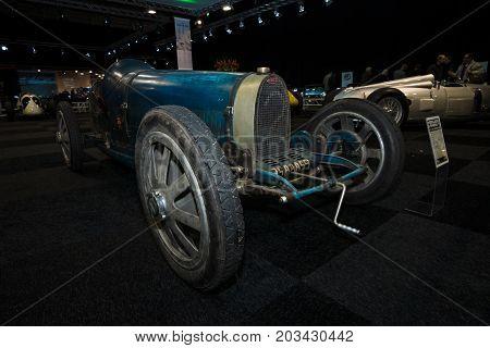 MAASTRICHT NETHERLANDS - JANUARY 08 2015: Racing car Bugatti Type 35 1925. International Exhibition InterClassics & Topmobiel 2015