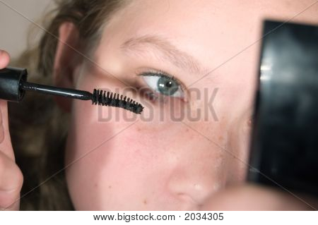 Young Girl And Mascara