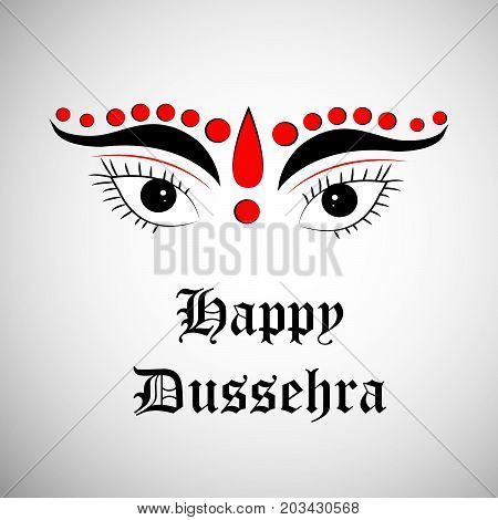 illustration of hindu goddess face with Happy Dussehra text on the occasion of hindu festival Dussehra