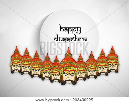 illustration of evil Ravan faces with Happy Dussehra text on the occasion of hindu festival Dussehra
