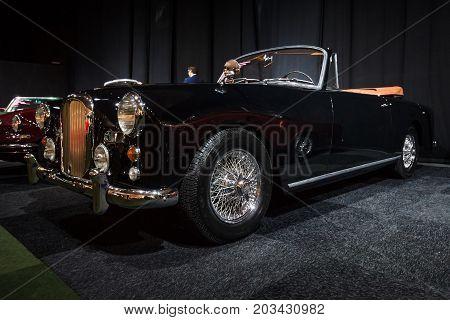 MAASTRICHT NETHERLANDS - JANUARY 08 2015: British sports car Alvis Three Litre TD21 DHC - Series I 1961. International Exhibition InterClassics & Topmobiel 2015