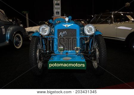MAASTRICHT NETHERLANDS - JANUARY 08 2015: Oldtimer Austin A 30 Seven SP 1938. International Exhibition InterClassics & Topmobiel 2015