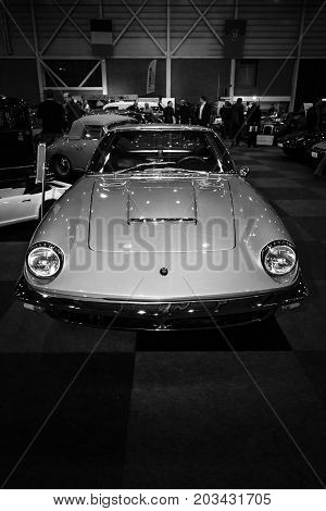 MAASTRICHT NETHERLANDS - JANUARY 08 2015: Sports car Maserati Mistral 3700GT (Tipo 109). Black and white. International Exhibition InterClassics & Topmobiel 2015