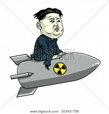 Kim Jong-un on Nuclear Rocket Weapon. Vector Cartoon Illustration. September 9, 2017