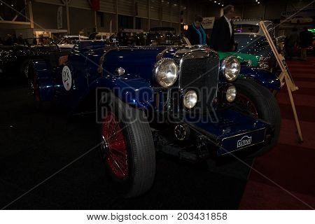 MAASTRICHT NETHERLANDS - JANUARY 08 2015: Car with sports-racing body Alvis Type II 12/70 1940. International Exhibition InterClassics & Topmobiel 2015