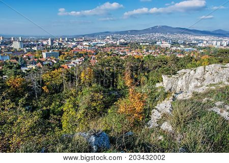 Nitra city under Zobor hill in autumn time. Slovak republic. Urban scene. Seasonal scene. Travel destination.