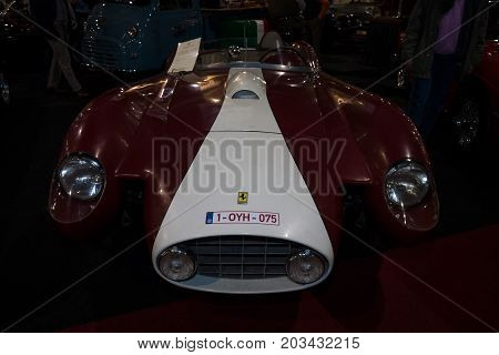 MAASTRICHT NETHERLANDS - JANUARY 08 2015: Racing car the Ferrari 250 Testa Rossa. International Exhibition InterClassics & Topmobiel 2015