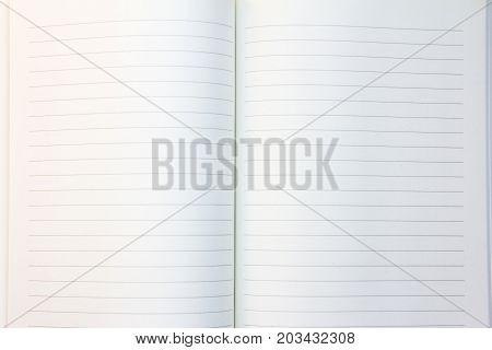 Blank white lined paper book background with the copy space