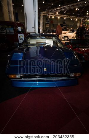 MAASTRICHT NETHERLANDS - JANUARY 08 2015: Sports car Ferrari 308 GTBi. International Exhibition InterClassics & Topmobiel 2015