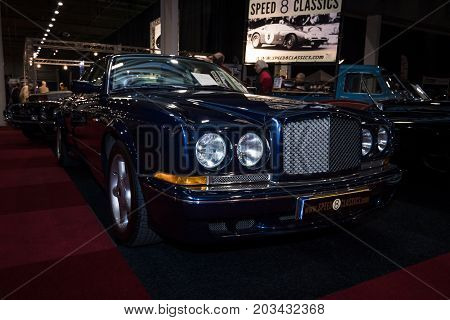 MAASTRICHT NETHERLANDS - JANUARY 08 2015: The high-performance car Bentley Continental T. International Exhibition InterClassics & Topmobiel 2015