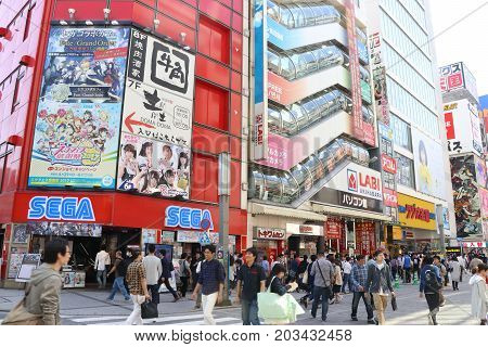 TOKYO JAPAN - April 30 2017: Akihabara district in tokyo that is called as Electric Town and located of anime and toy of Japan culture.